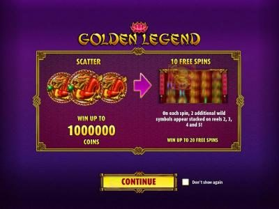 Play slots at 1xBit Casino: 1xBit Casino featuring the Video Slots Golden Legend with a maximum payout of $2,000,000