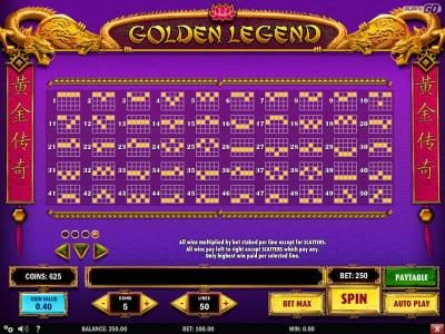 Unique Casino featuring the Video Slots Golden Legend with a maximum payout of $2,000,000