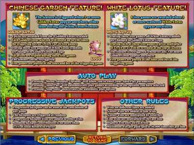 Red Dog featuring the Video Slots Golden Lotus with a maximum payout of $250,000