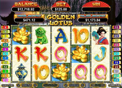 Mr Play featuring the Video Slots Golden Lotus with a maximum payout of $250,000
