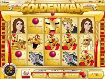 Play slots at 21 Dukes: 21 Dukes featuring the Video Slots Goldenman with a maximum payout of $1,250
