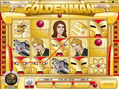 Golden Lady featuring the Video Slots Goldenman with a maximum payout of $1,250