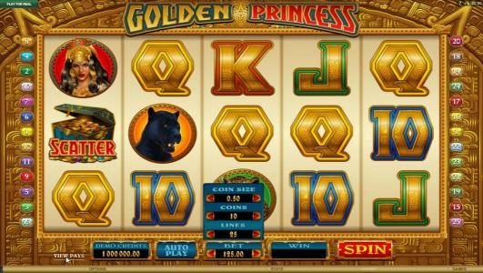 Mega Casino featuring the Video Slots Golden Princess with a maximum payout of $25,000