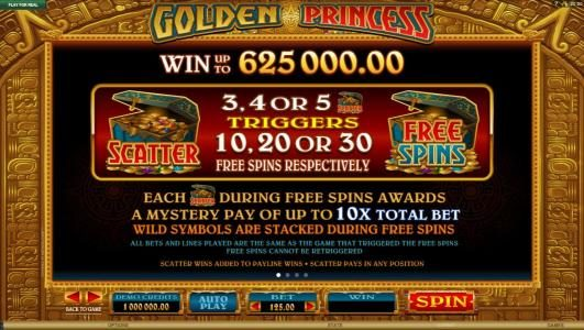 Golden Princess :: Scatter and wild symbols pays