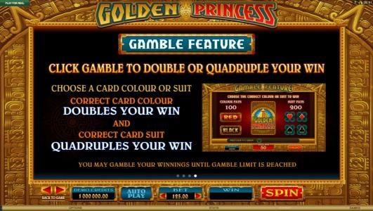 Golden Princess :: Gamble Feature Games Rules