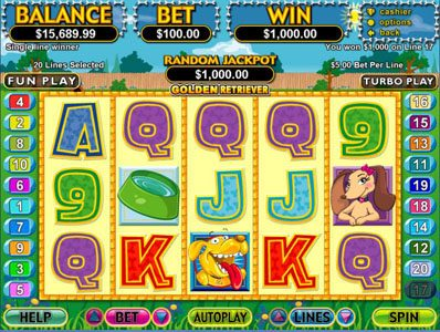 Bovegas featuring the Video Slots Golden Retriever with a maximum payout of $250,000