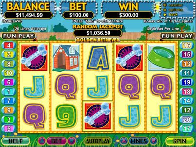 Wild Joker featuring the Video Slots Golden Retriever with a maximum payout of $250,000