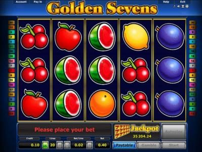 Golden Sevens :: Main game board featuring five reels and 20 paylines with a $5,000 max payout