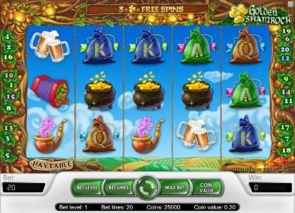 Play slots at CasinoCasino: CasinoCasino featuring the Video Slots Golden Shamrock with a maximum payout of $20,000