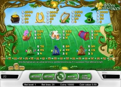 Zet Casino featuring the Video Slots Golden Shamrock with a maximum payout of $20,000