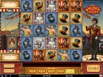 Golden Ticket :: Main game board featuring five reels and 10 paylines with a $8,000 max payout