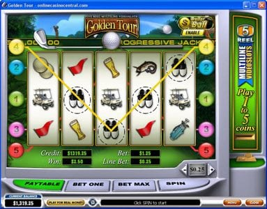 Carnival featuring the Video Slots Golden Tour with a maximum payout of Jackpot