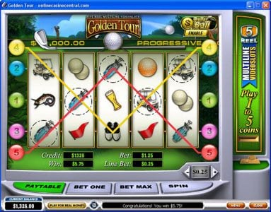 Grand Reef featuring the Video Slots Golden Tour with a maximum payout of Jackpot