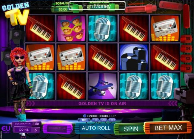 Win 7 featuring the Video Slots Golden TV with a maximum payout of $12,500