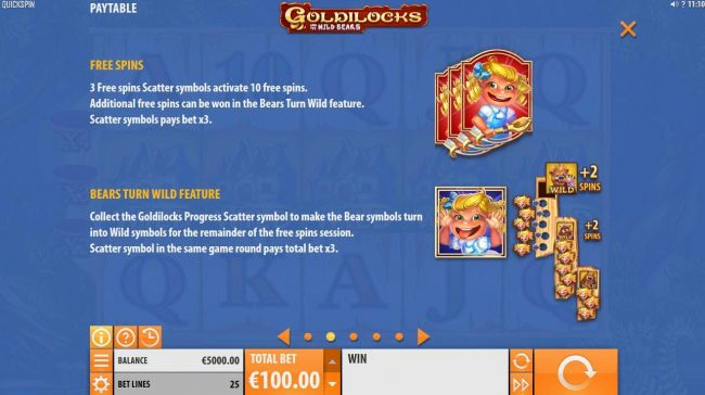 Omnia featuring the Video Slots Goldilocks and the Wild Bears with a maximum payout of $100,000