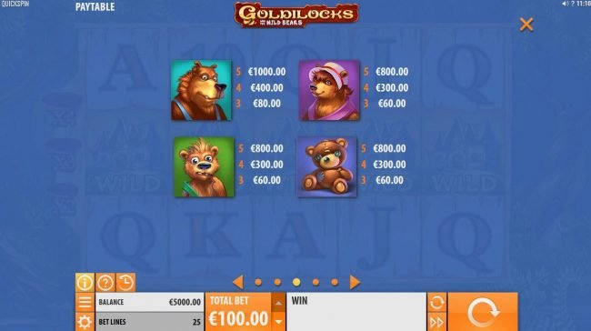 Club Vulkan featuring the Video Slots Goldilocks and the Wild Bears with a maximum payout of $100,000