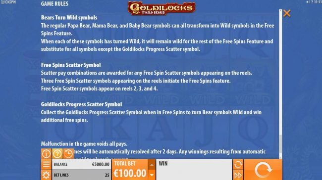 Casino Luck featuring the Video Slots Goldilocks and the Wild Bears with a maximum payout of $100,000