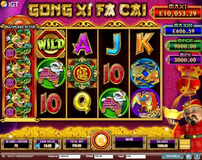 A Chinese New Year themed main game board featuring five reels and 50 paylines with a $250,000 max payout