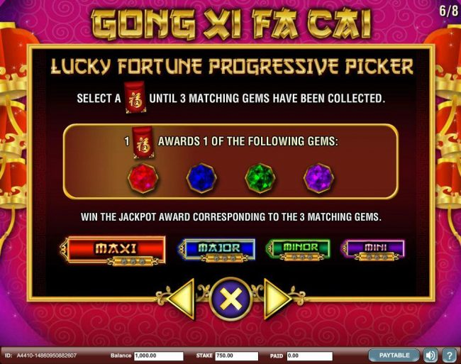 Select an envelope until 3 matching gems have been collected. Win the jackpot award corresponding to the 3 matching gems.
