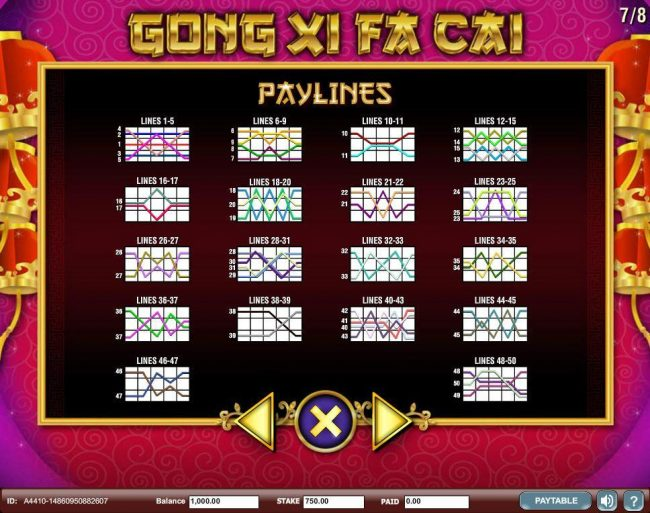 Payline Diagrams 1-50