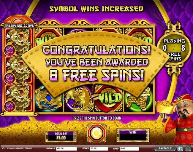 Player is awarded 8 free spins.
