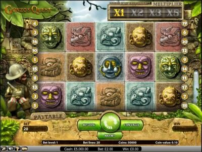 Magik Slots featuring the Video Slots Gonzo's Quest with a maximum payout of $62,500