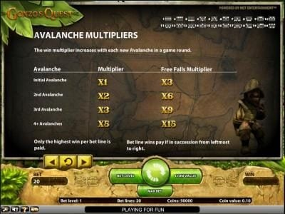 Gonzo's Quest slot game avalanche multipliers