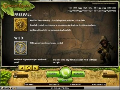 Gonzo's Quest slot game free fall and wild symbols