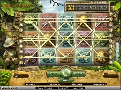 Gonzo's Quest slot game paylines