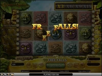 Gonzo's Quest slot game free spins feature triggered