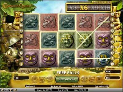 Gonzo's Quest slot game free spins feature 270 coin jackpot