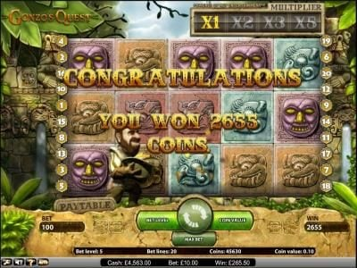 Gonzo's Quest slot game you won 2655 coins during the free spins feature