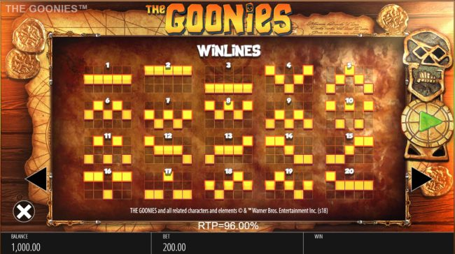 The Goonies :: Paylines 1-20
