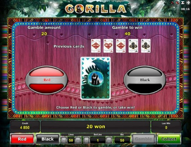 Gamble feature game board is available after every winning spin. For a chance to increase your winnings, select the correct color on the next card or take win.