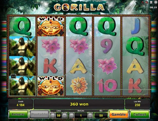 Winner Million featuring the Video Slots Gorilla with a maximum payout of $2,500,000
