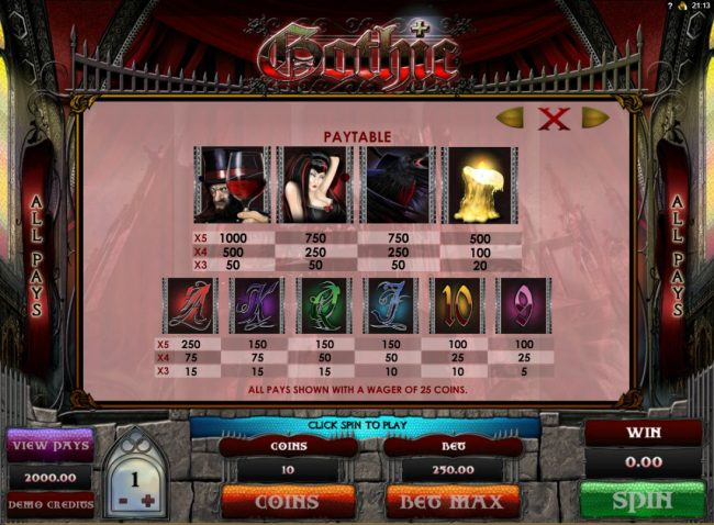 Play slots at Casumo: Casumo featuring the Video Slots Gothic with a maximum payout of $15,000