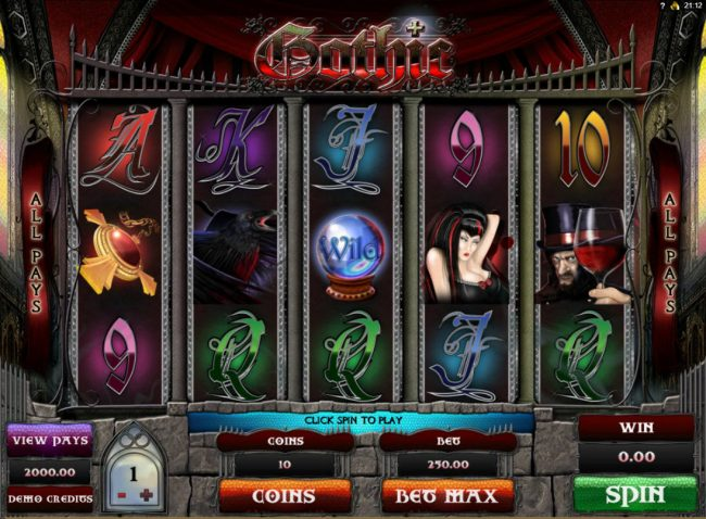 Play slots at Casino 765: Casino 765 featuring the Video Slots Gothic with a maximum payout of $15,000