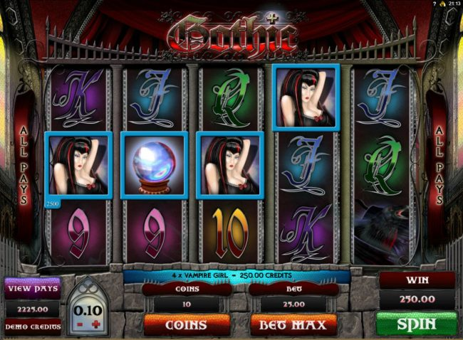 Grand Mondial featuring the Video Slots Gothic with a maximum payout of $15,000