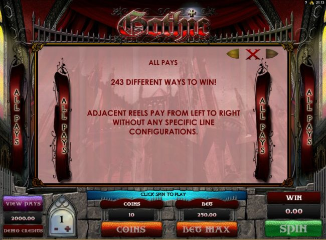 Lucky Me Slots featuring the Video Slots Gothic with a maximum payout of $15,000