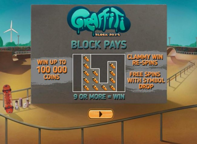 Play slots at Africa Casino: Africa Casino featuring the Video Slots Graffiti Block Pays with a maximum payout of $1,000,000