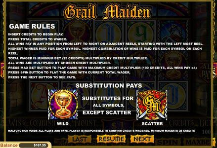 Lincoln featuring the Video Slots Grail Maiden with a maximum payout of $1,000