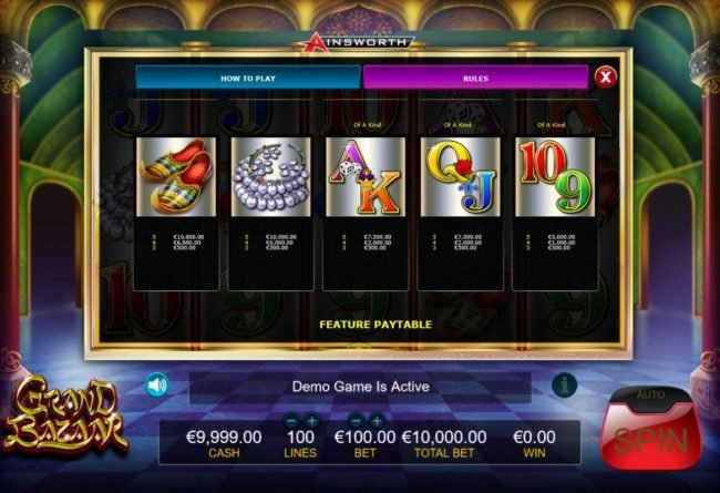 Intercasino featuring the Video Slots Grand Bazaar with a maximum payout of $1,000,000