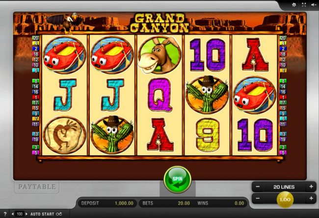 Play slots at Spinrider: Spinrider featuring the Video Slots Grand Canyon with a maximum payout of $9,000