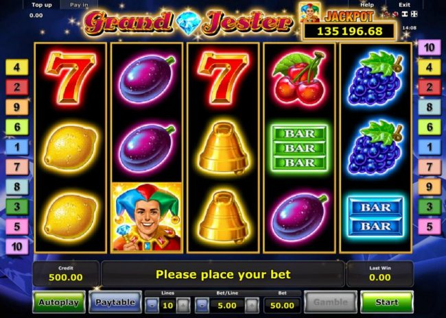 Grand Jester :: Main game board featuring five reels and 10 paylines with a progressive jackpot max payout.