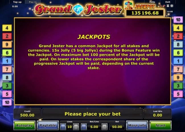 Quasar featuring the Video Slots Grand Jester with a maximum payout of Jackpot