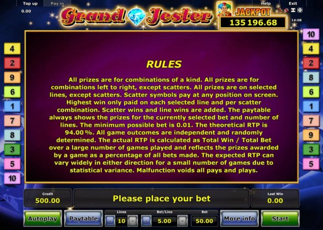 Grand Jester :: General Game Rules - The theoretical average return to player (RTP) is 94.00%.