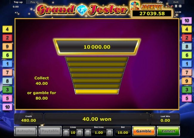 Grand Jester :: Ladder Gamble Feature Game Board available after every winning spin.