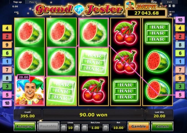 Grand Jester :: A 90.00 win triggered by multiple winning paylines.