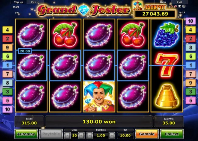 Grand Jester :: Multiple winning paylines triggers a 130.00 big win!