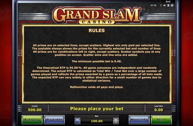 Grand Slam Casino :: General Game Rules